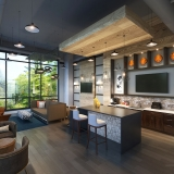 Digital Photorealistic Architectural Renderings of Durham Exchange Clubroom for RAM Realty Services