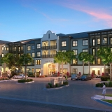 616165 Digital Photorealistic Architectural Renderings of Portiva Front Entrance at Dusk for Charlan Brock Associates