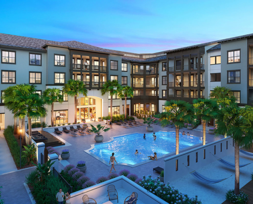616165 Digital Photorealistic Architectural Renderings of Portiva Pool at Dusk for Charlan Brock Associates