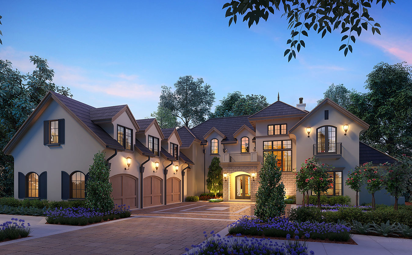 Digital Photorealistic Architectural Renderings of Single Family Home Lot 120 at Dusk for Isleworth Realty