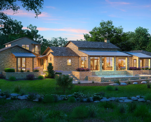 616169 Digital Photorealistic Architectural Renderings of Boot Ranch Villas Country Home Backyard at Dusk for Wheelock Communities