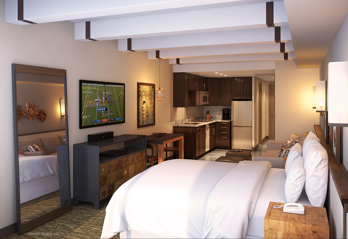 Digital Photorealistic Architectural Renderings of Sheraton Steamboat Bedroom for Kimberly Timmons Interiors