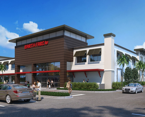 616180 Digital Photorealistic Architectural Renderings of Earth Fare Grocery Store Exterior for RAM Realty Services