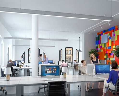 616184-Digital Photorealistic Architectural Rendering of L & L Holding Company Office Workspace Interior