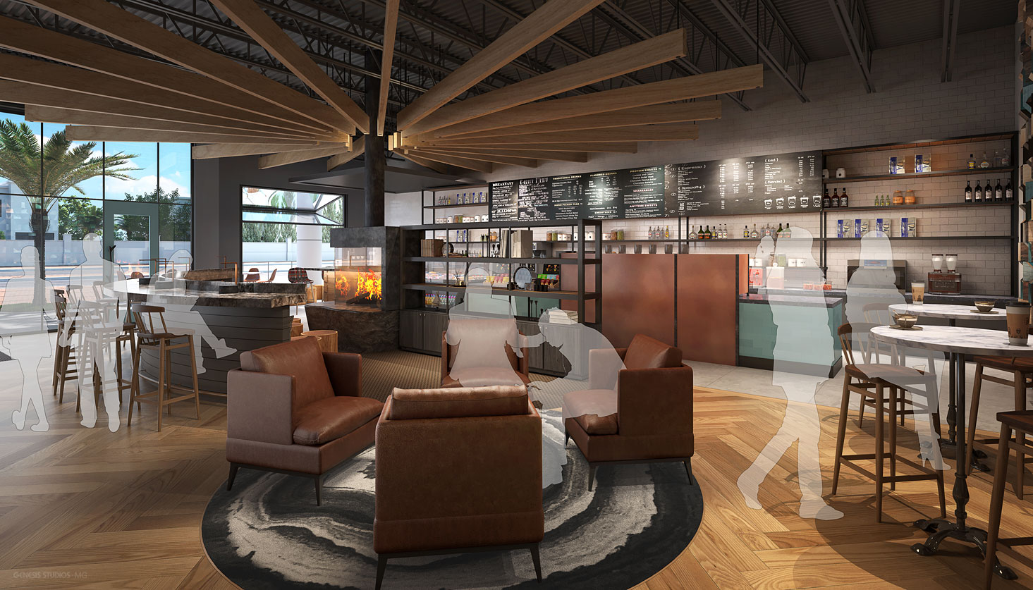 717155 Digital Photorealistic Architectural Renderings of Caribou Coffee Coffee Bar for Shea Design