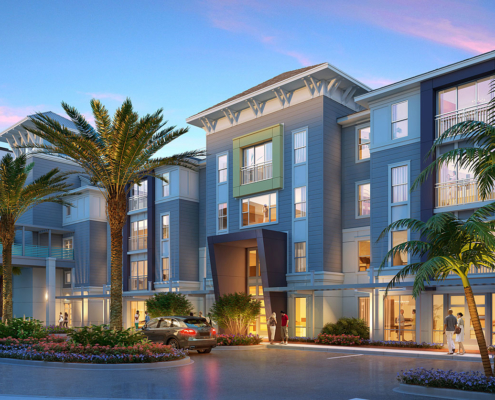 717002 Digital Photorealistic Architectural Renderings of The Hub Front Entrance at Dusk for Charlan Brock Associates