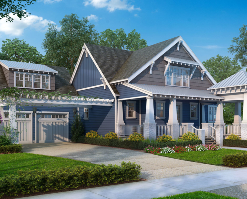 Digital Photorealistic Architectural Renderings of Cottage Front Yard for The Grove