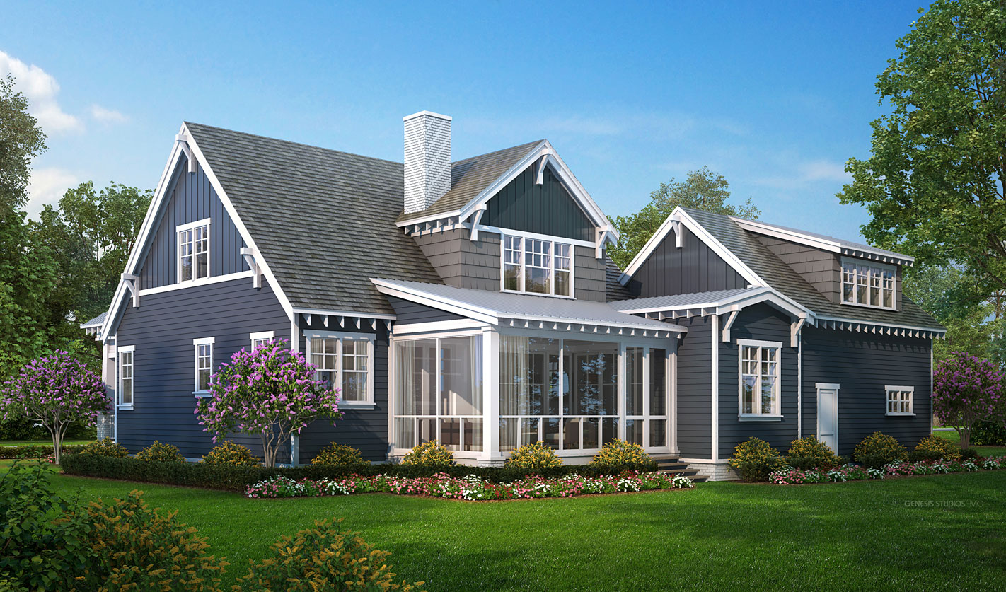 Digital Photorealistic Architectural Renderings of Cottage Backyard for The Grove
