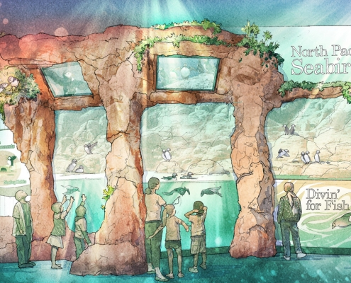 717018 Digital Watercolor Architectural Rendering of the front of The Georgia Aquarium Puffin Exhibit