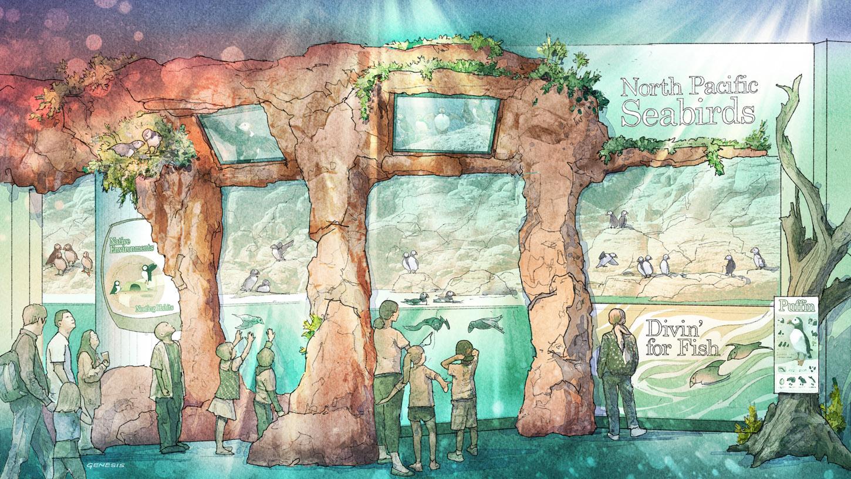 717018 Digital Watercolor Architectural Rendering of the front of The Georgia Aquarium Puffin Exhibit
