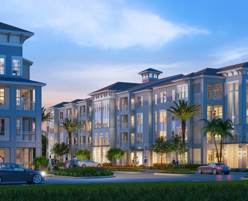 71723 Digital Photorealistic Architectural Renderings of Cypress at Dusk for Charlan Brock Associates