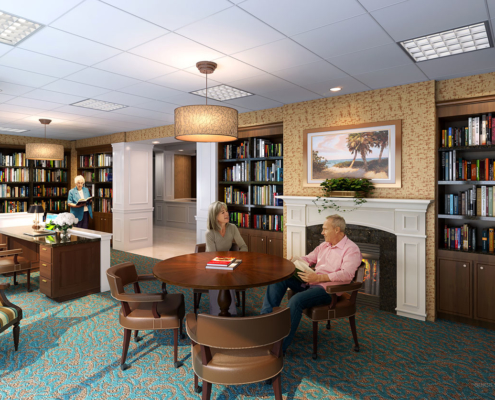 717041 Digital Photorealistic Architectural Renderings of Sun City Senior Living Library for Lantz Boggio Architects