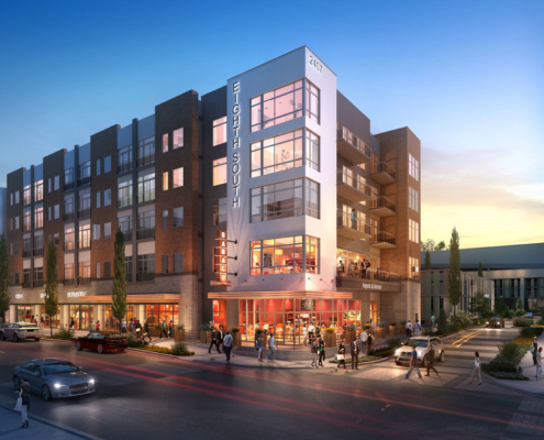 717051 Digital Photorealistic Architectural Renderings of Eight South Multi Use Complex at Dusk for H. Michael Hindman Architects