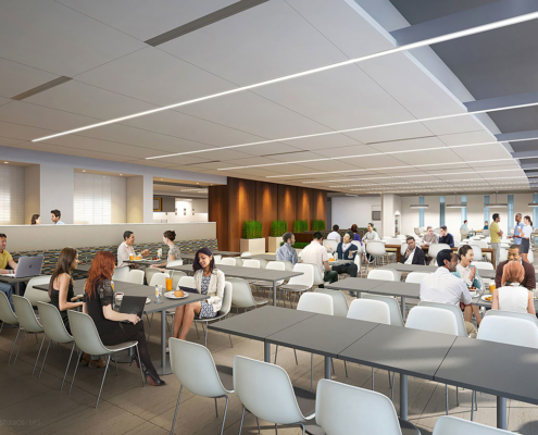 717056 Digital Photorealistic Architectural Renderings of United Technologies Corporation Cafeteria for Hunton Brady Architects