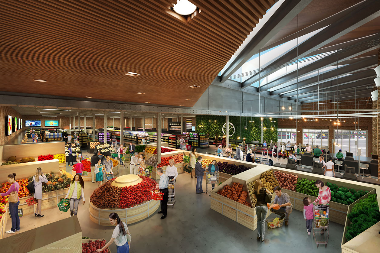 Digital Photorealistic Architectural Renderings of Fresh Markets Shopping