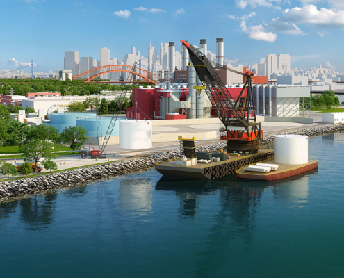 717075 Digital Photorealistic Architectural Rendering of ACG Aroria Tank Farm for MVN Associates