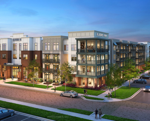 717106 Digital Photorealistic Architectural Renderings of Bluebird Row Exterior for Charlan Brock Associates