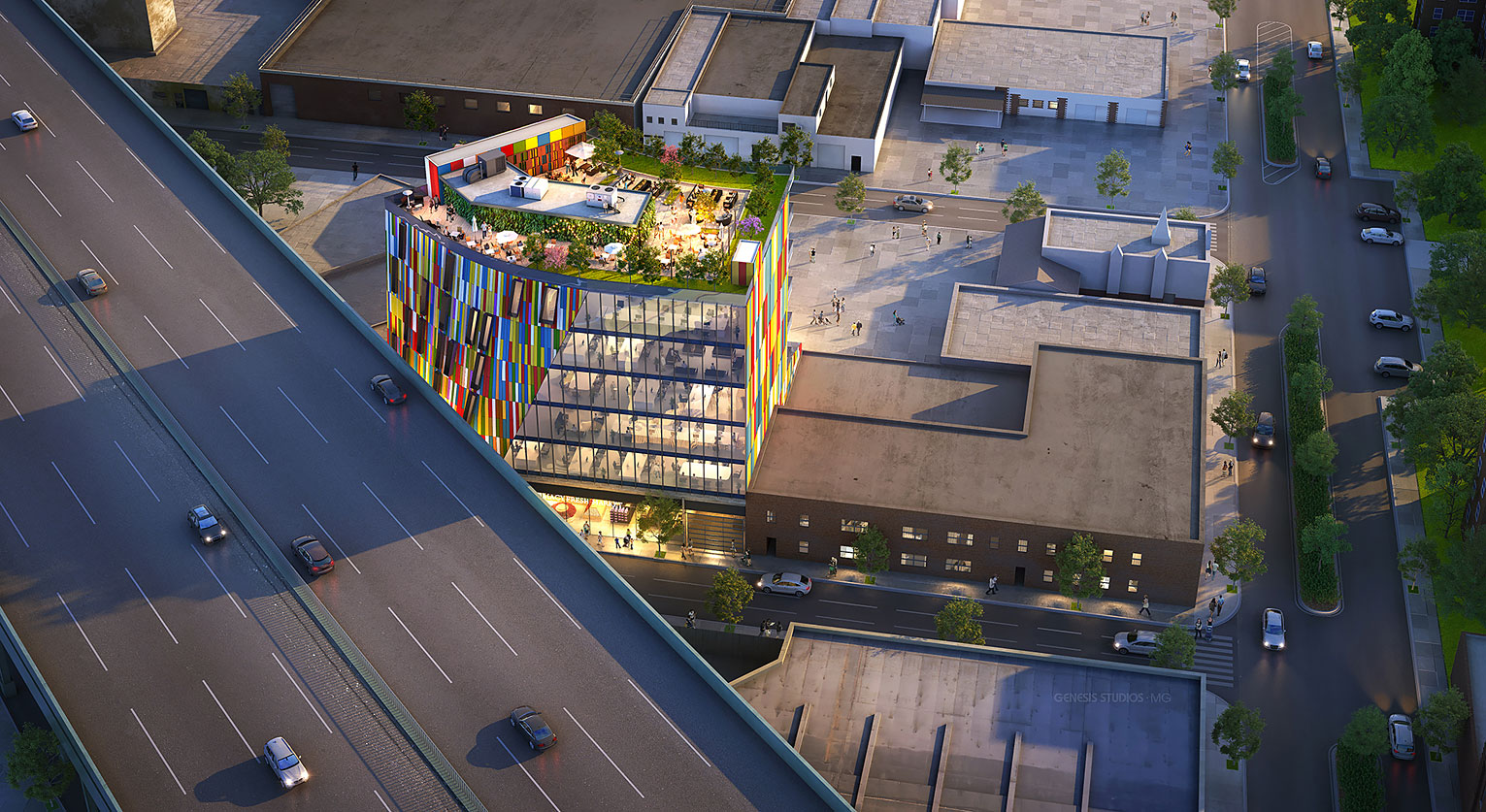 717109 Digital Photorealistic Architectural Renderings of 150 Mill Street from an Aerial View for Zoning and Code Consulting Group