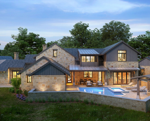 717124 Digital Photorealistic Architectural Renderings of Boot Ranch Villas Mabery Backyard at Dusk for Wheelock Communities