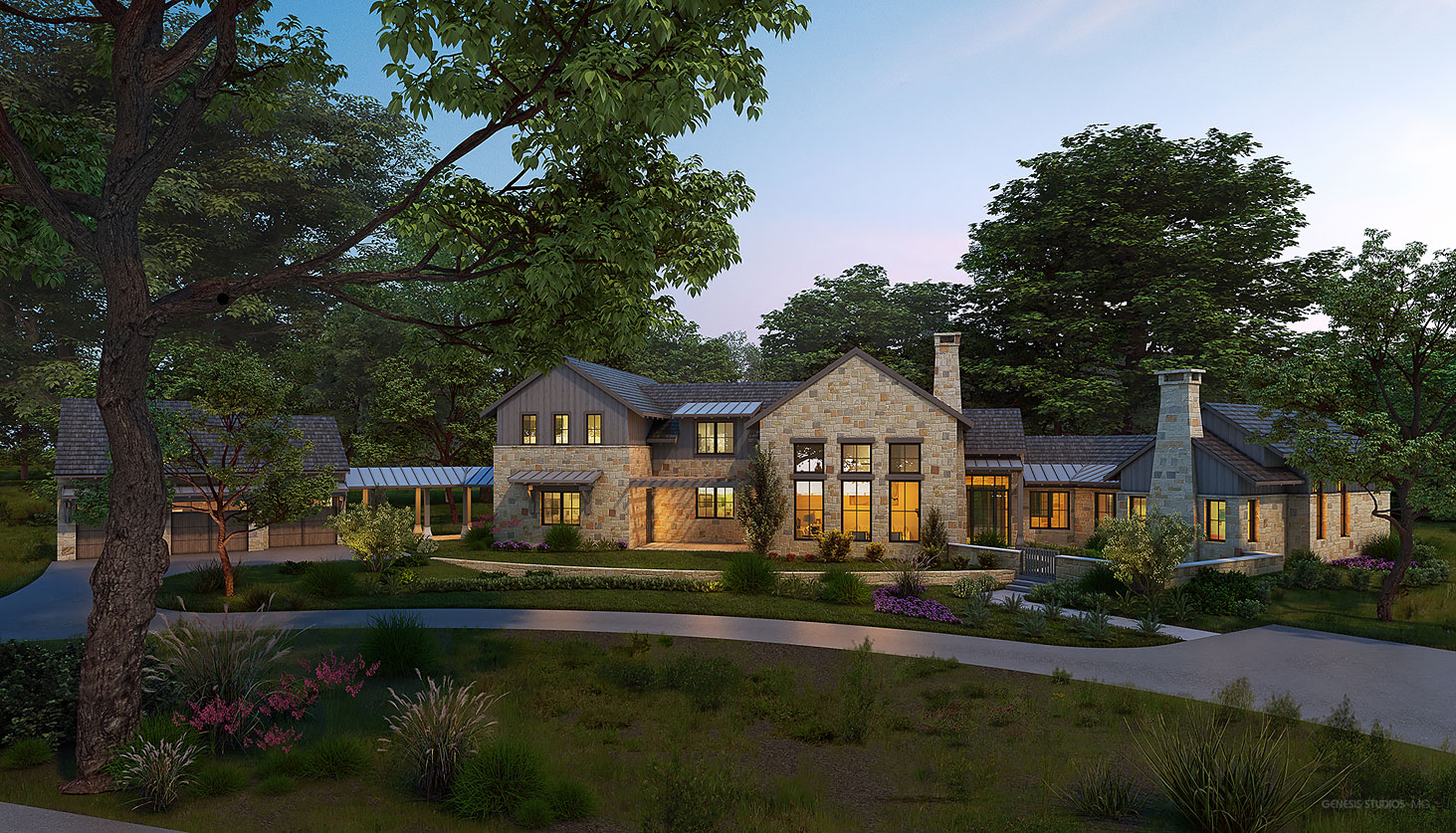 717124 Digital Photorealistic Architectural Renderings of Boot Ranch Villas Mabery Front Yard at Dusk for Wheelock Communities