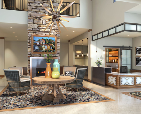 717131 Digital Photorealistic Architectural Rendering of Bethel Park Lobby for Senior Lifestyle Corporation