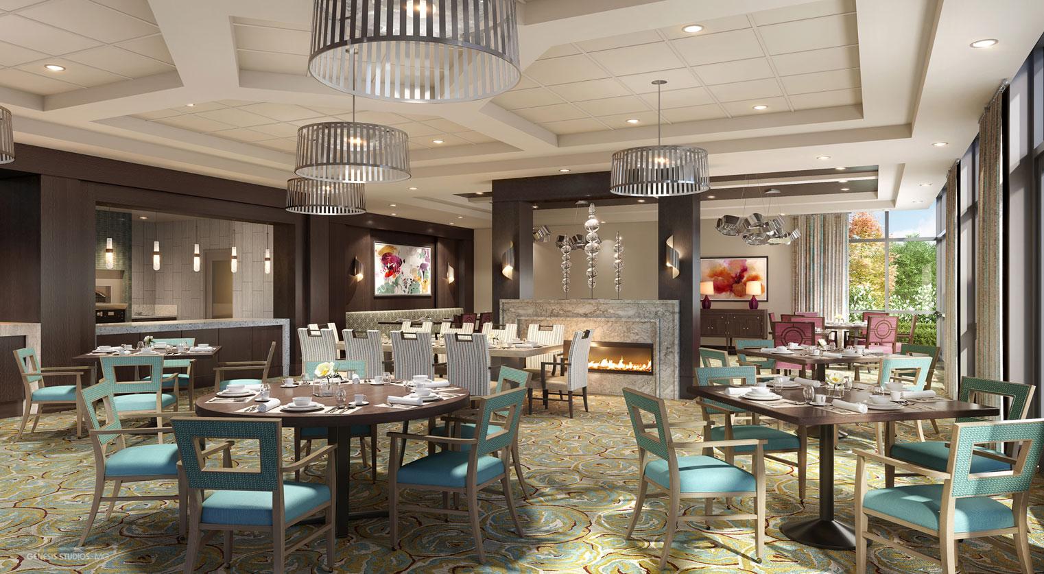 717132 Digital Photorealistic Architectural Rendering of Park Ridge Dining for Senior Lifestyle Corporation