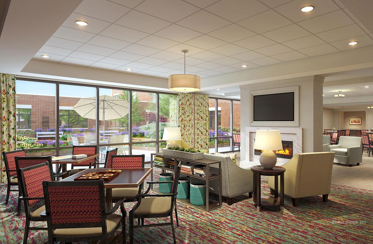 717132 Digital Photorealistic Architectural Renderings of Park Ridge Living Room for Senior Lifestyle Corporation