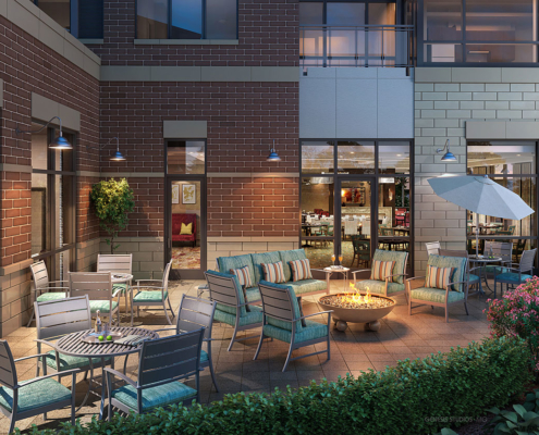 818132 Digital Photorealistic Architectural Rendering of Park Ridge Patio for Senior Lifestyle Corporation