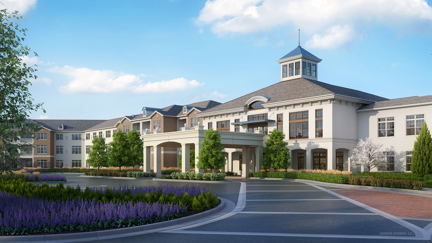 717133 Digital Photorealistic Architectural Renderings of Snellville Front Entrance for Senior Lifestyle Corporation
