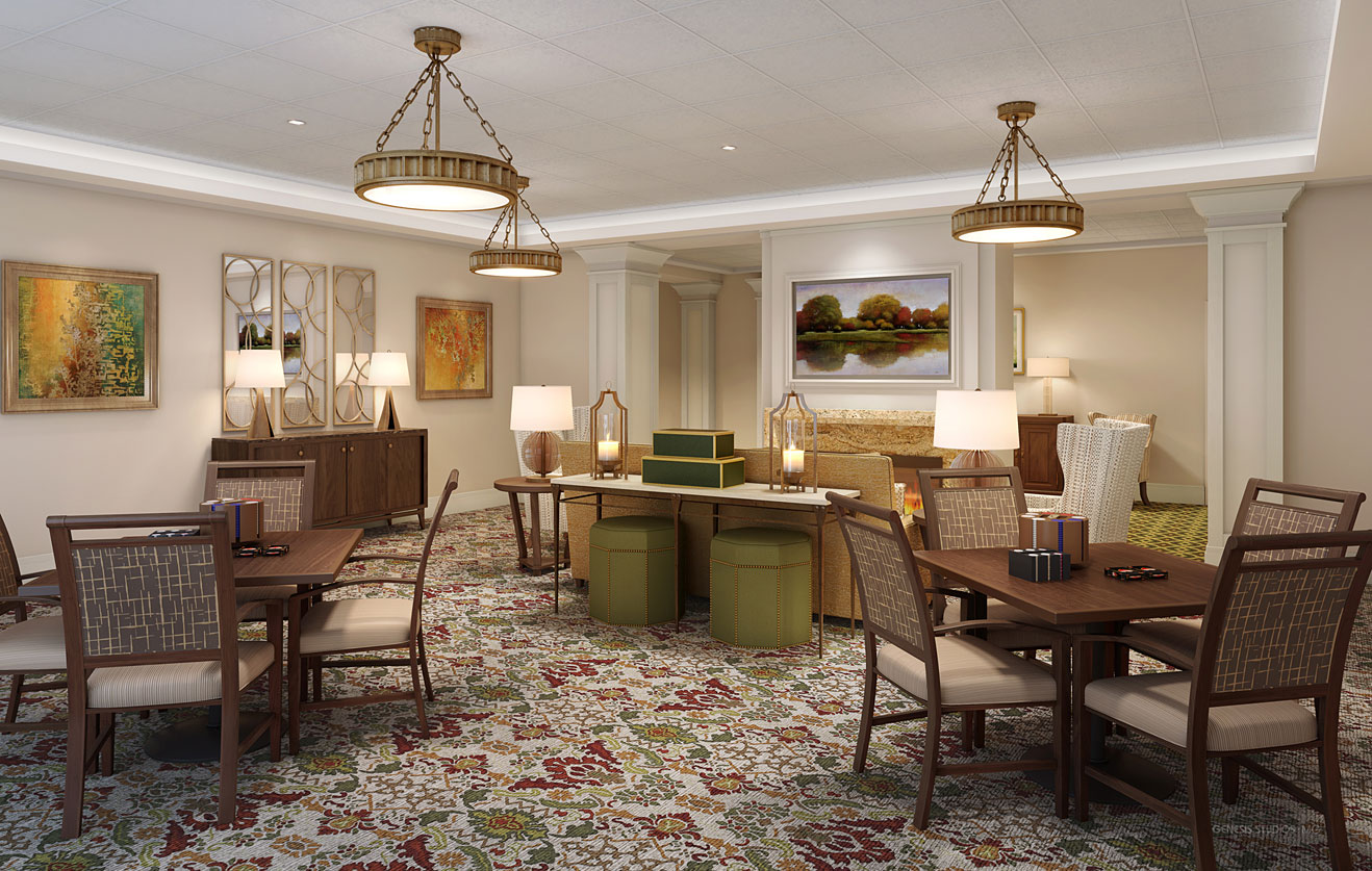 717133 Digital Photorealistic Architectural Renderings of Snellville Living Room for Senior Lifestyle Corporation