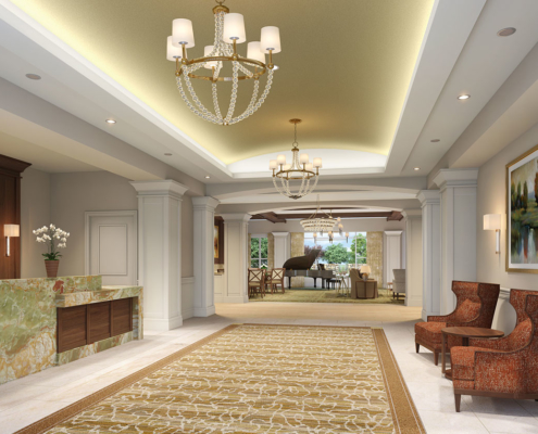 Digital Photorealistic Architectural Renderings of Snellville Lobby for Senior Lifestyle Corporation