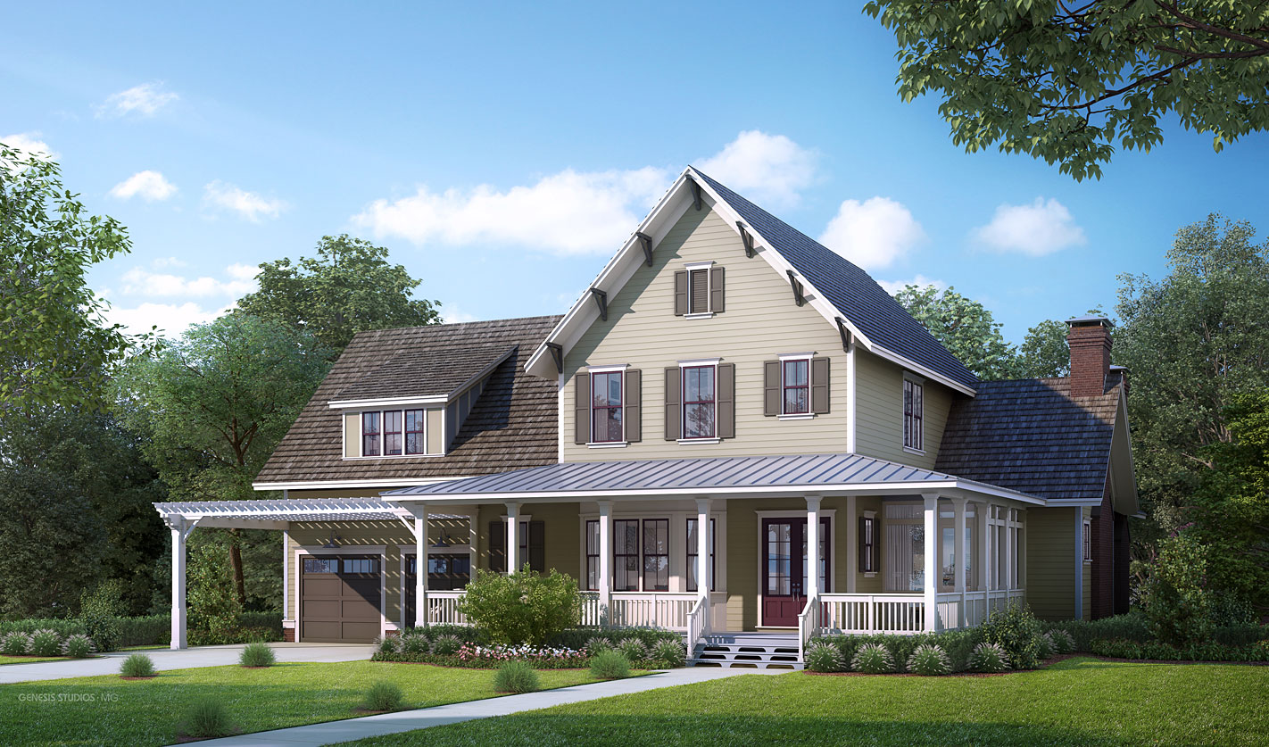 3D Architectural Renderings of Single Family Home Backyard for The Grove