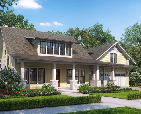 717143 Digital Photorealistic Architectural Renderings of Summertime Cottage Front Yard for The Grove