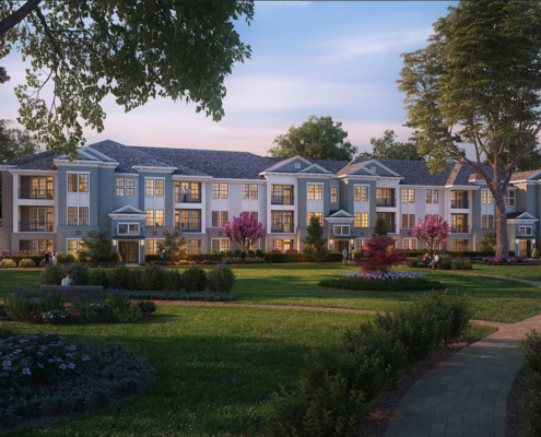 717145 Digital Photorealistic Architecutral Renderings of Candlelight Lane at Dusk for Charlan Brock Associates