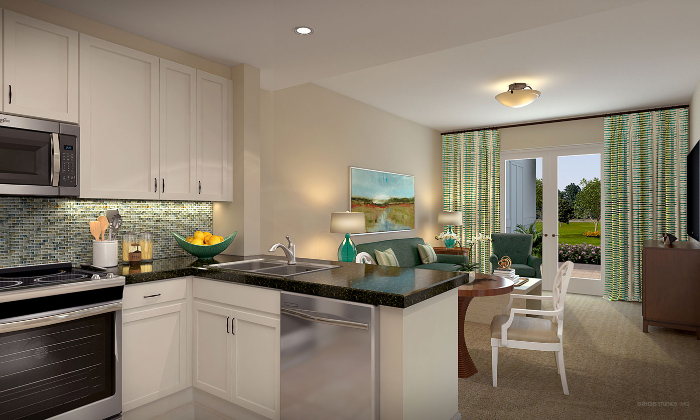 717150 Digital Photorealistic Architectural Renderings of Spring Lake Kitchen and Living Room for HRA Living