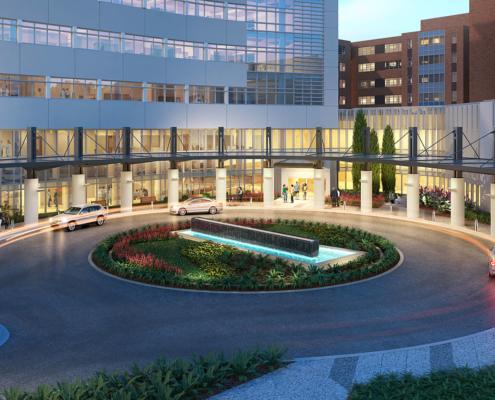 717171 Digital Photorealistic Architectural Renderings of Lakeland Regional Medical Center Pavilion for Women and Children Roundabout for Hunton Brady Architects