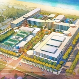 717179- Digital Watercolor Architectural Rendering of Cocoa Beach Hotel and Condo from an Aerial View for AECOM