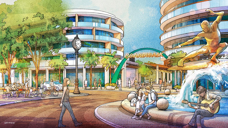 717179- Digital Watercolor Architectural Rendering of Cocoa Beach Hotel and Condo Boardwalk for AECOM