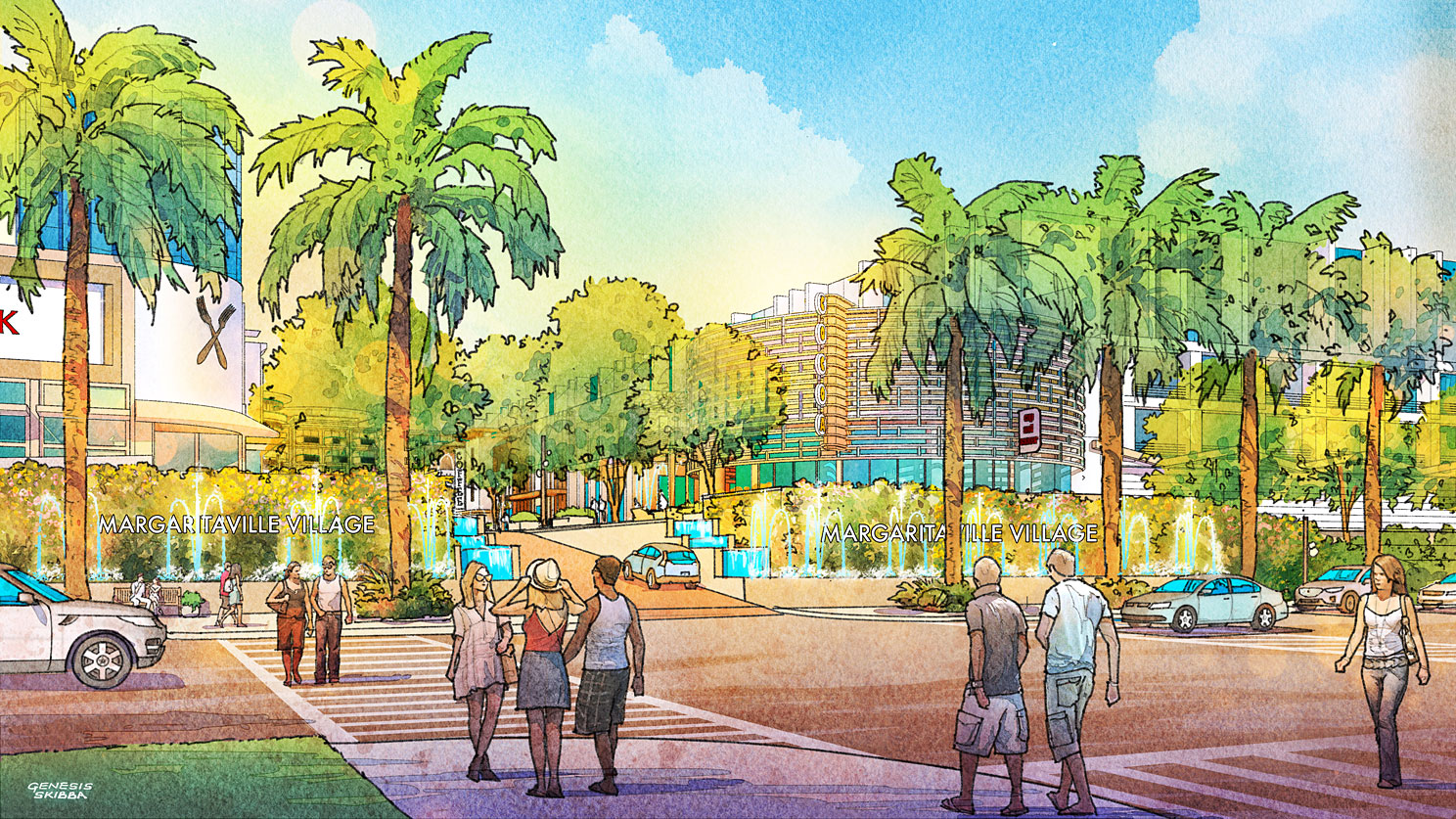 Digital Watercolor Architectural Rendering of Cocoa Beach Hotel and Condo Entrance for AECOM