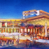 717179- Digital Watercolor Architectural Rendering of Cocoa Beach Hotel and Condo at Nighttime for AECOM