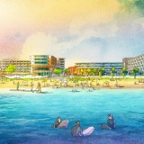 717179- Digital Watercolor Architectural Rendering of Cocoa Beach Hotel and Condo Waterfront for AECOM