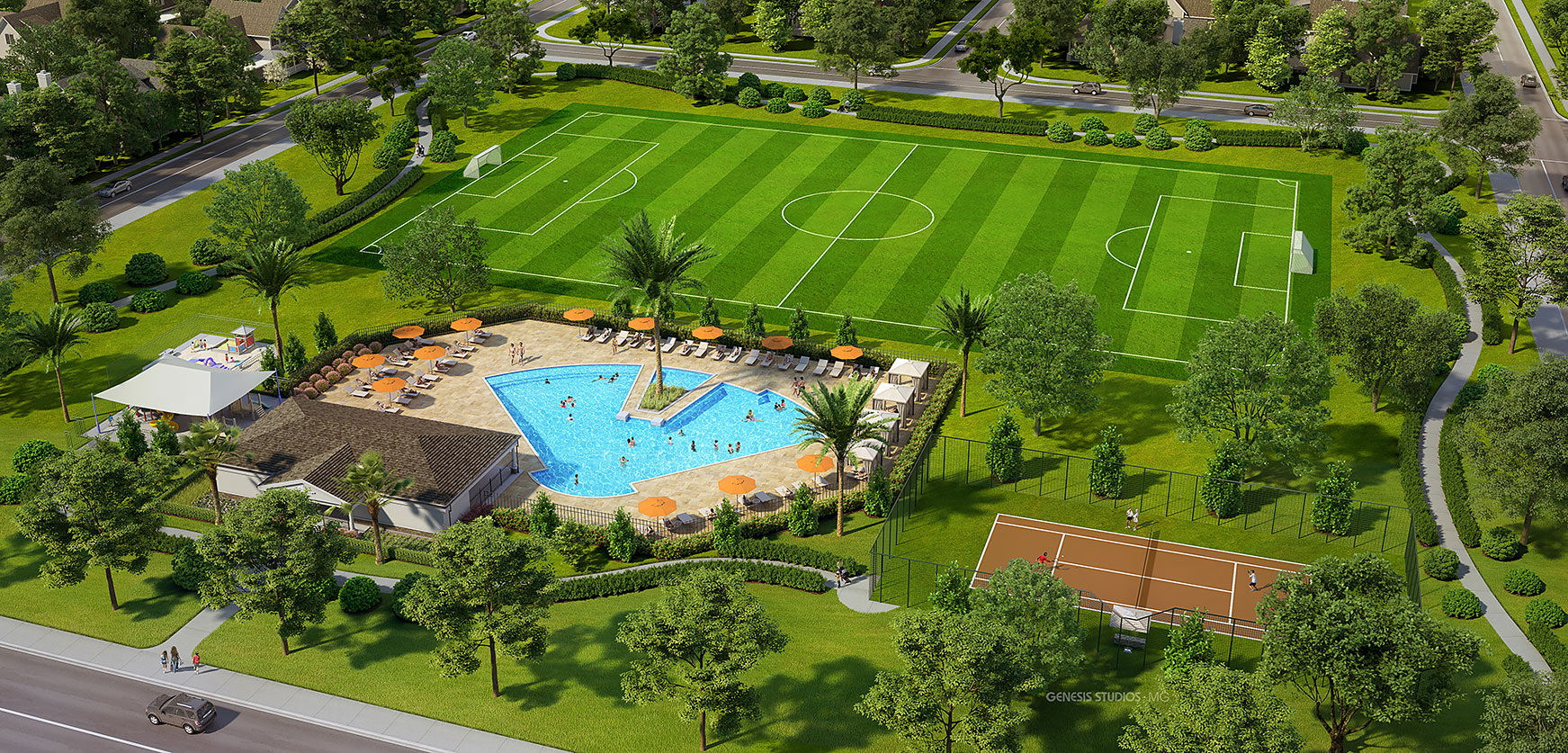 Digital Photorealistic Architectural Rendering of Laviance Amenities Aerial for Verlander