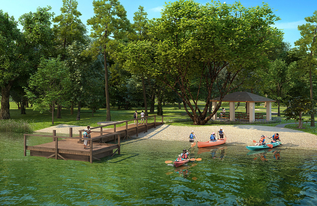 Digital Photorealistic Architectural Rendering of Laviance Kayak Launch for Verlander