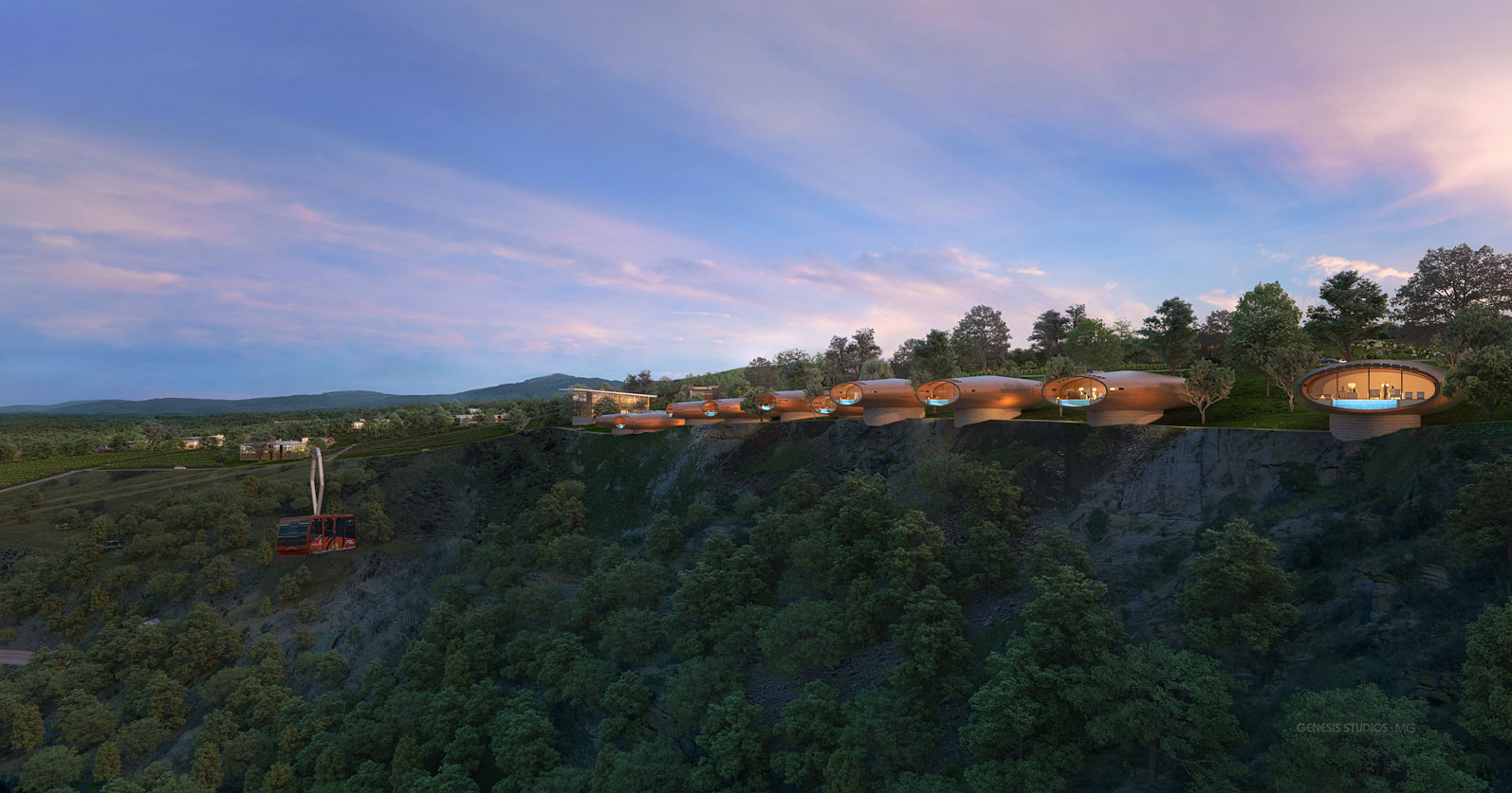 717188 Digital Photorealistic Architectural Renderings of The Vines San Miguel from an Aerial View for CallisonRTKL