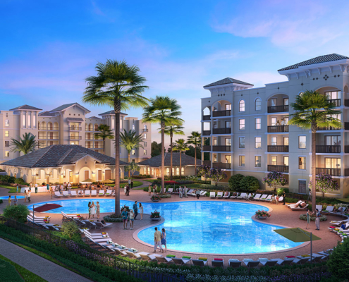 717203 Digital Photorealistic Architectural Rendering of Ormond Renaissance Condos Pool at Dusk for Stalder Green Advertising