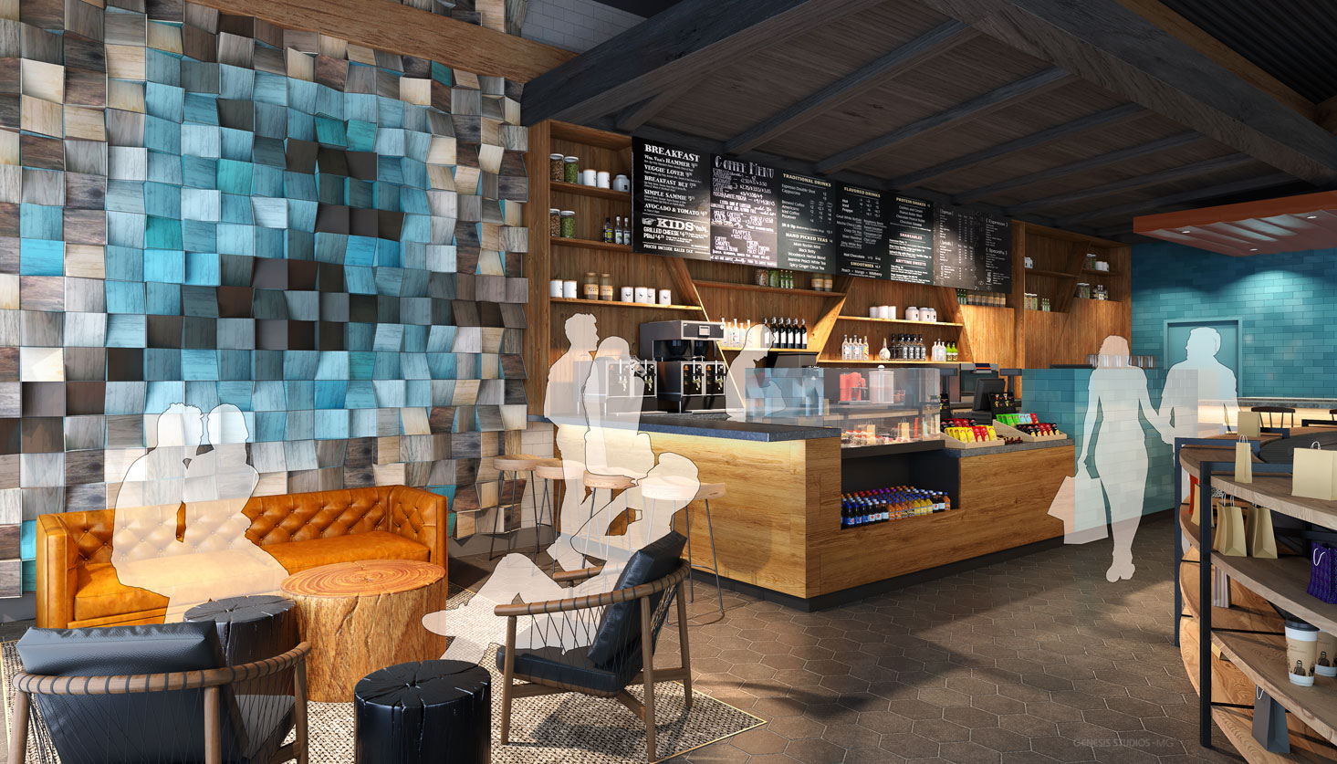 717210 Digital Photorealistic Architectural Renderings of Caribou Coffee Interior Coffee Bar for Shea Design