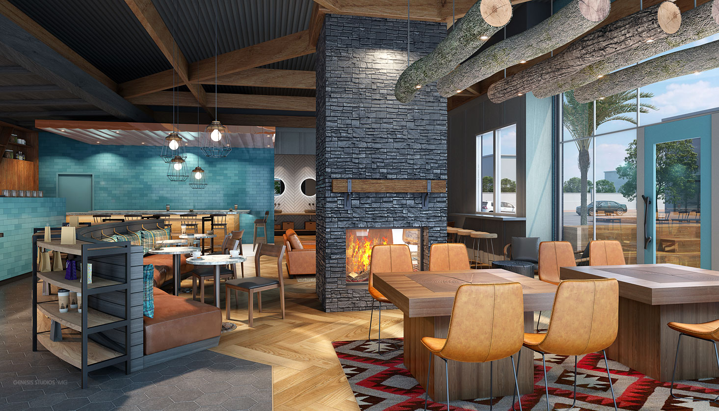 717210 Digital Photorealistic Architectural Renderings of Caribou Coffee Interior Fireplace for Shea Design