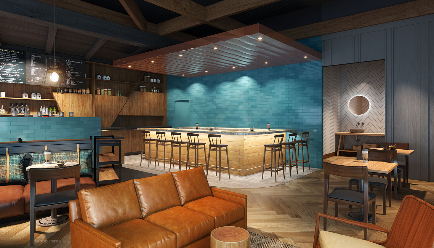 717210 Digital Photorealistic Architectural Renderings of Caribou Coffee Interior Lounge for Shea Design