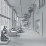 818003 Digital Photorealistic Architectural Rendering White Model of The Roosevelt Corridor Hotel for Beasley and Henley