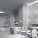 818003 Digital Photorealistic Architectural Rendering White Model of The Roosevelt Fireplace Hotel for Beasley and Henley